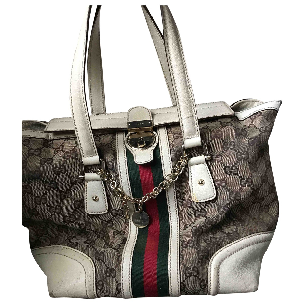 Gucci Boston Ecru Cotton Handbag