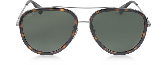 80d4776db84c Gucci Gg0062S 002 Havana Acetate And Silver Metal Aviator Women's Sunglasses