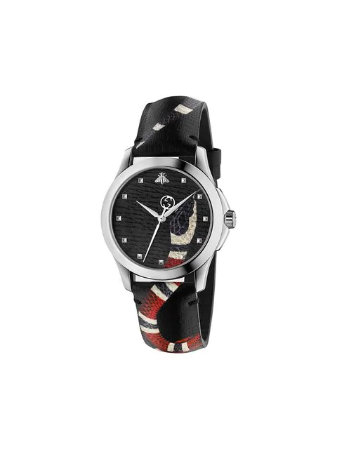 Gucci 38Mm Le Marche Des Merveilles Snake Watch W/ Leather Strap, Gray In Black
