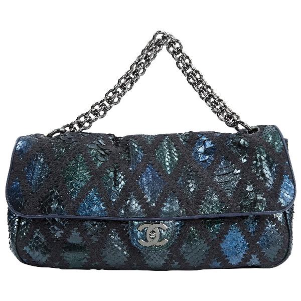 Chanel Navy Python Handbag