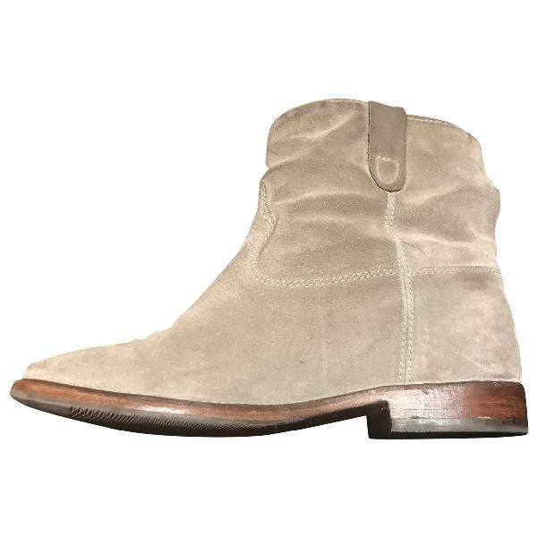 Isabel Marant Crisi  Khaki Leather Ankle Boots