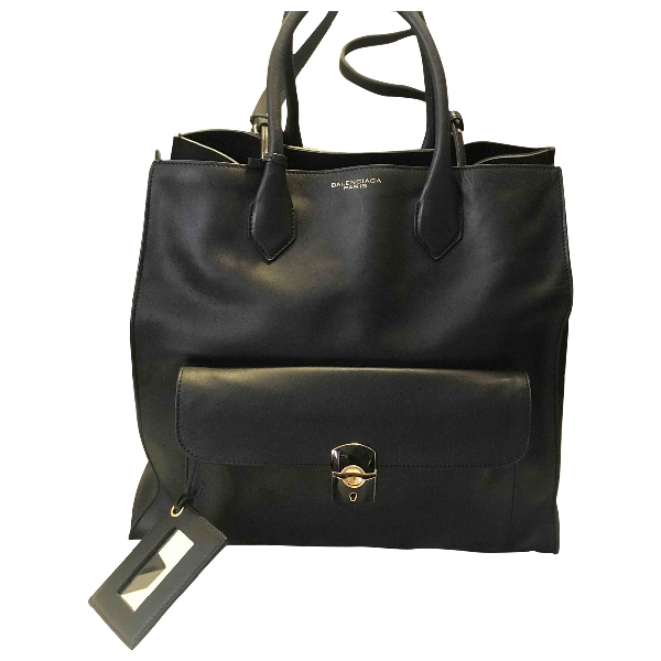 Balenciaga Padlock Black Leather Handbag