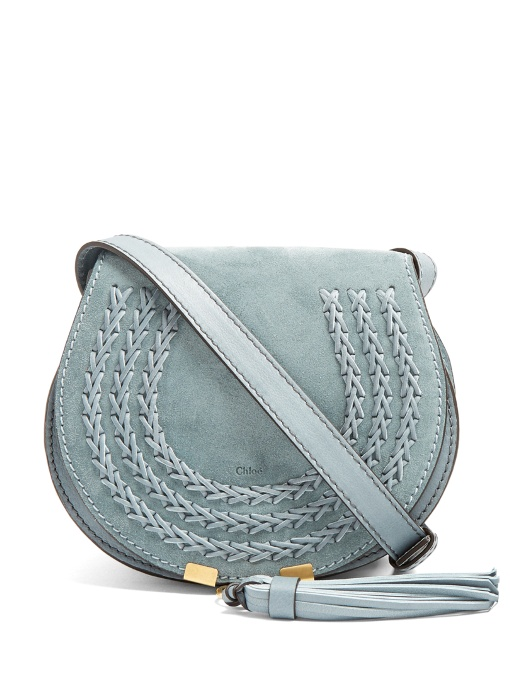 08bc549f47 Marcie Small Suede Cross-Body Bag in Light Teal-Blue