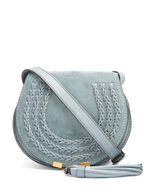 b547fa7e1 ChloÉ Marcie Small Suede Cross-Body Bag In Light Teal-Blue | ModeSens