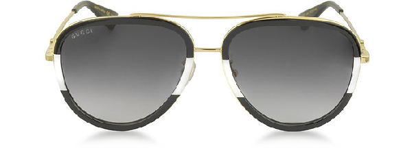 e57d8667c3765 Gucci Gg0062S 006 Black White Acetate And Gold Metal Aviator Women s  Sunglasses