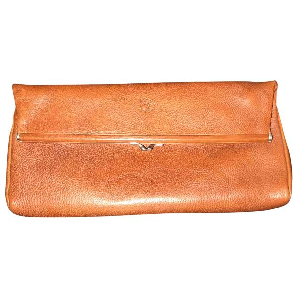 Il Bisonte Camel Leather Clutch Bag