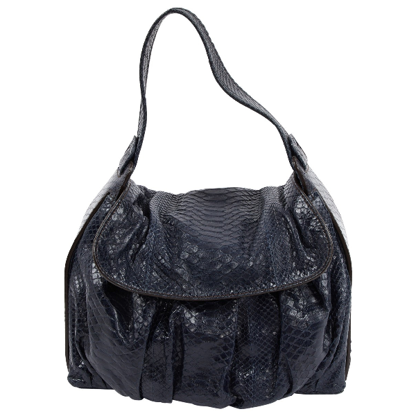 Zagliani Blue Python Handbag