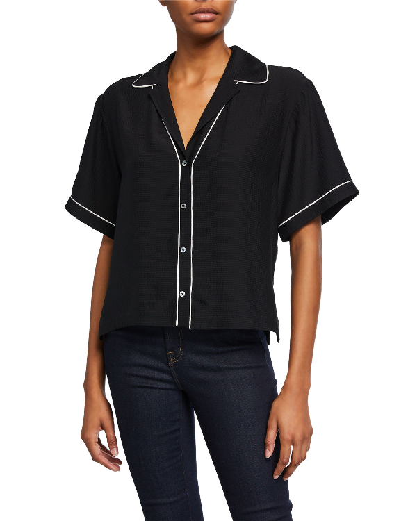 Atm Anthony Thomas Melillo Hammered Silk Short-sleeve Cropped Shirt In Black