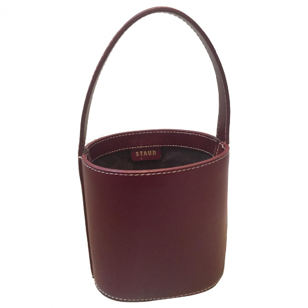 Staud Bisset Burgundy Leather Handbag