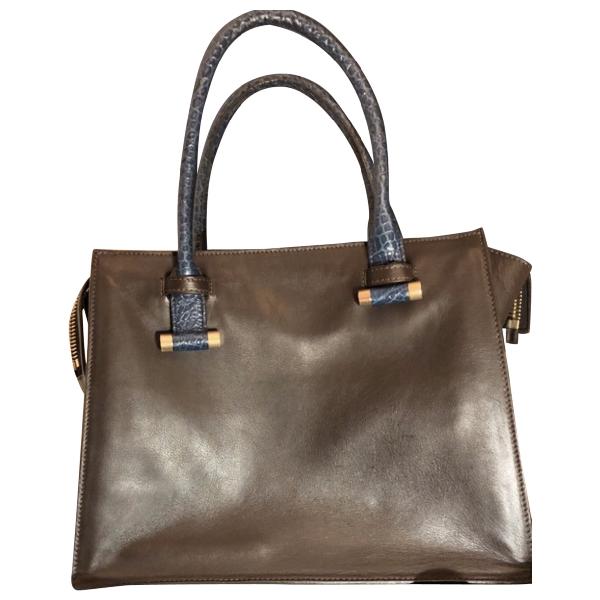 Robert Clergerie Grey Leather Handbag