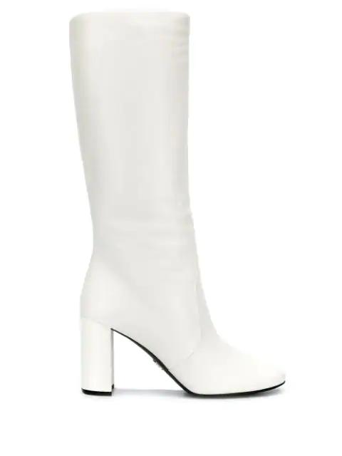 Prada Knee High Boots In White