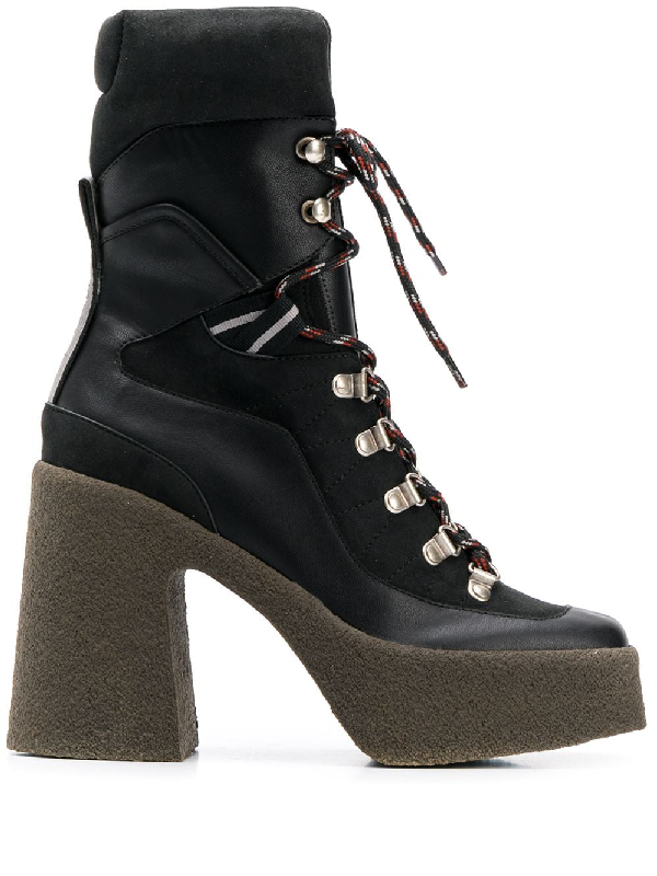 Stella Mccartney Chunky Gum-Heel Lace-Up Boots In 1002 Black
