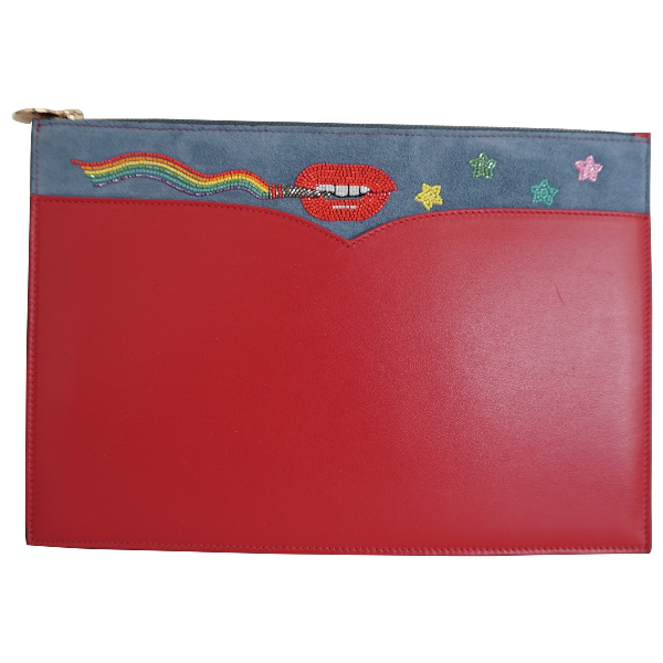 Olympia Le-tan Red Leather Clutch Bag