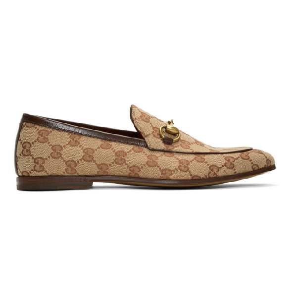 Gucci 10mm Canvas Gg All Over Loafers In Beige