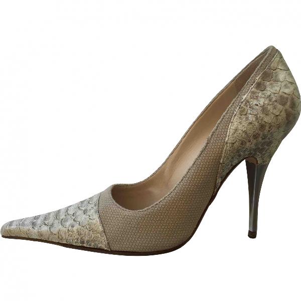 Chanel Beige Python Heels