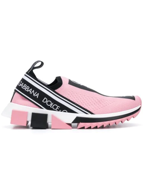 Dolce & Gabbana Stretch Jersey Sorrento Sneakers With Logo In Pink