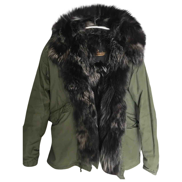 Barbed Khaki Raccoon Coat