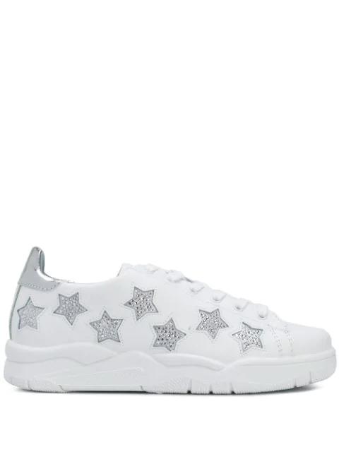 Chiara Ferragni Crystal Stars Sneakers In White