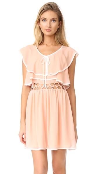 Endless Rose Open Waist Flared Dress In Tea Rose/white Combo