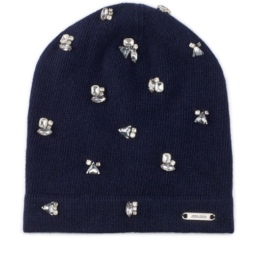 Jimmy Choo Eva Navy Blend Cashmere Knitted Beanie With Crystals In S310 Navy