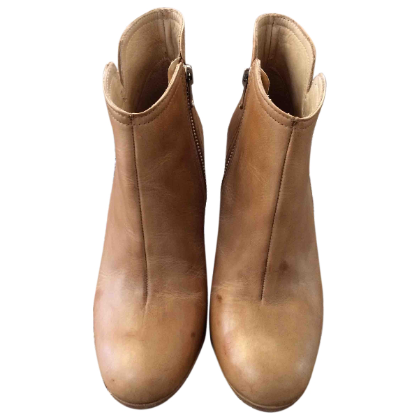Hope Beige Leather Ankle Boots