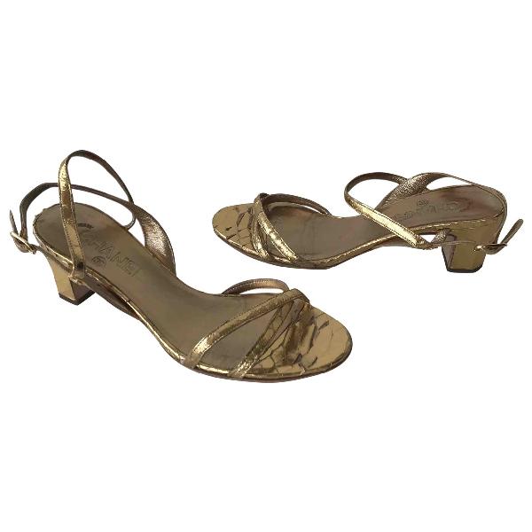 Chanel Gold Python Sandals