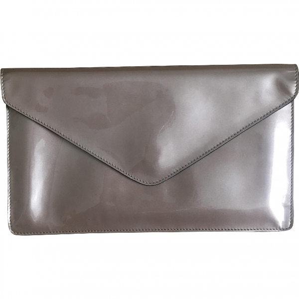 Robert Clergerie Beige Patent Leather Clutch Bag