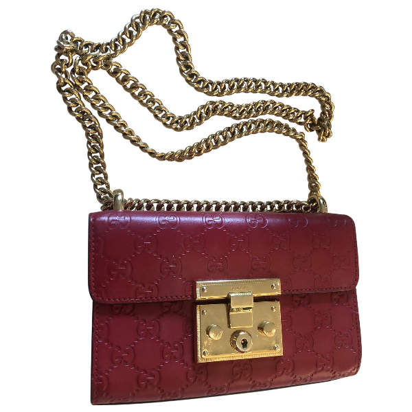 Gucci Padlock Red Leather Handbag