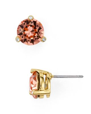 Kate Spade New York Rise And Shine Gold-tone Crystal Stud Earrings In Peach