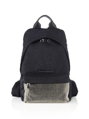 Mcq By Alexander Mcqueen Studded Wrinkle Nylon Backpack In Black