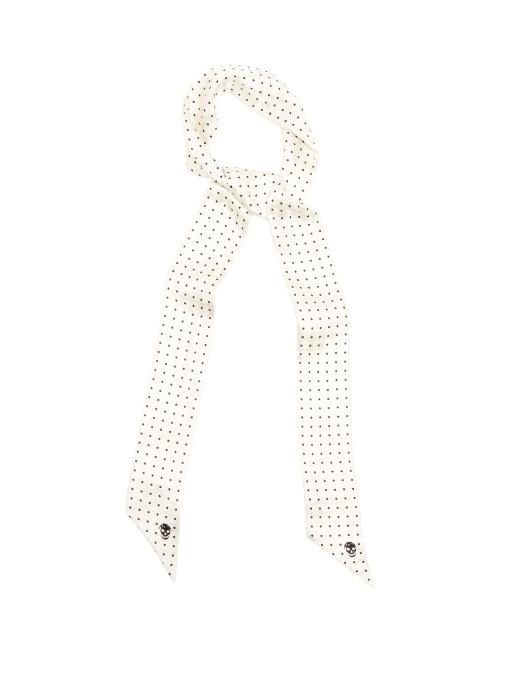 Alexander Mcqueen Polka-dot And Skull Silk-jacquard Tie In Cream