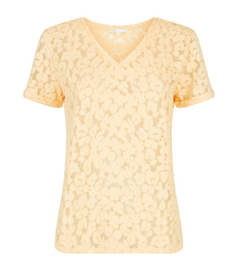 Maje Trompette DevorÉ Cotton-blend T-shirt In Mandarine