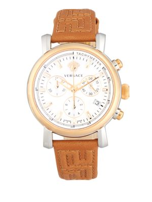 Versace Day Glam Leather Strap Watch In Brown