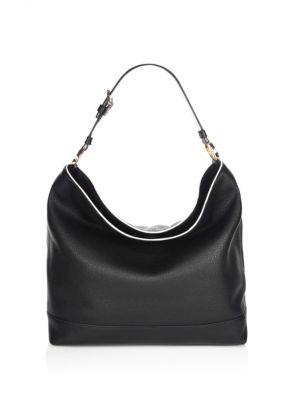 Tory Burch Duet Hobo Leather Bag In Black