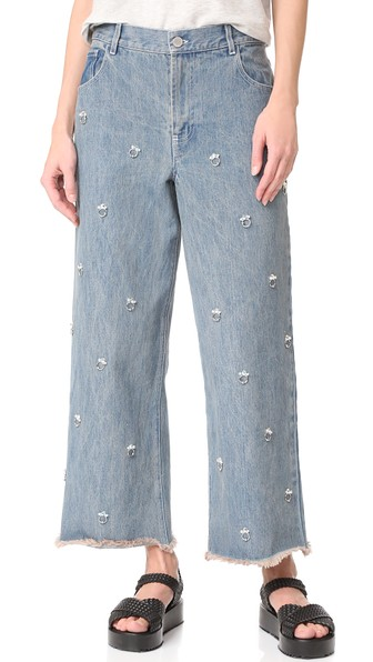 Sandy Liang Ghost Embellished Jeans In Blueberry