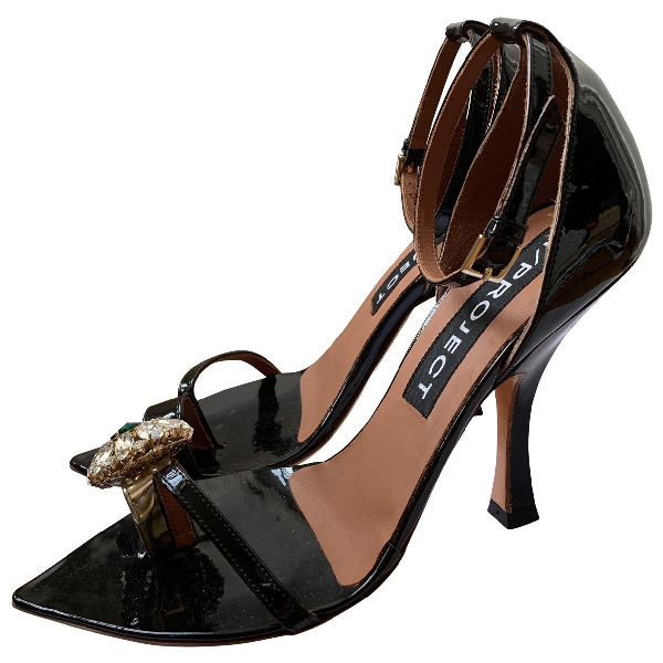 Y/project Black Patent Leather Sandals