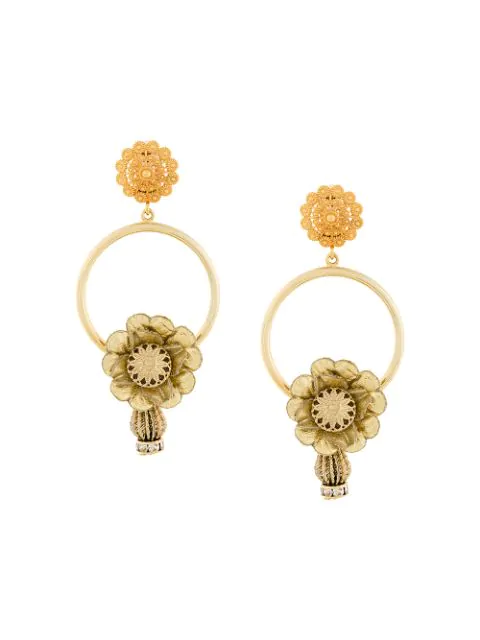 Dolce & Gabbana Floral Loop Drop Clip-on Earrings In Metallic