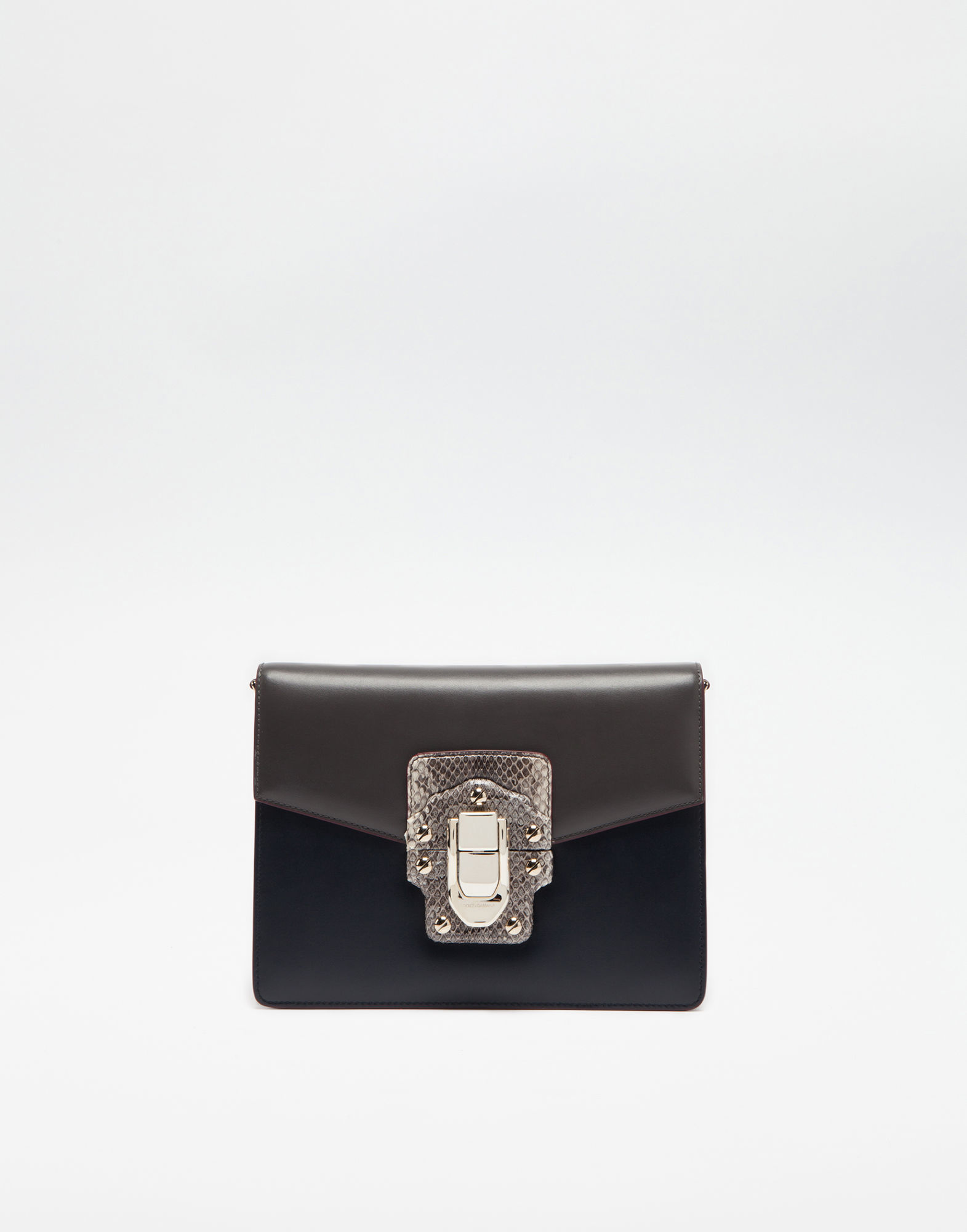 Dolce & Gabbana Lucia Shoulder Bag In Leather And Ayers In Gray/blue