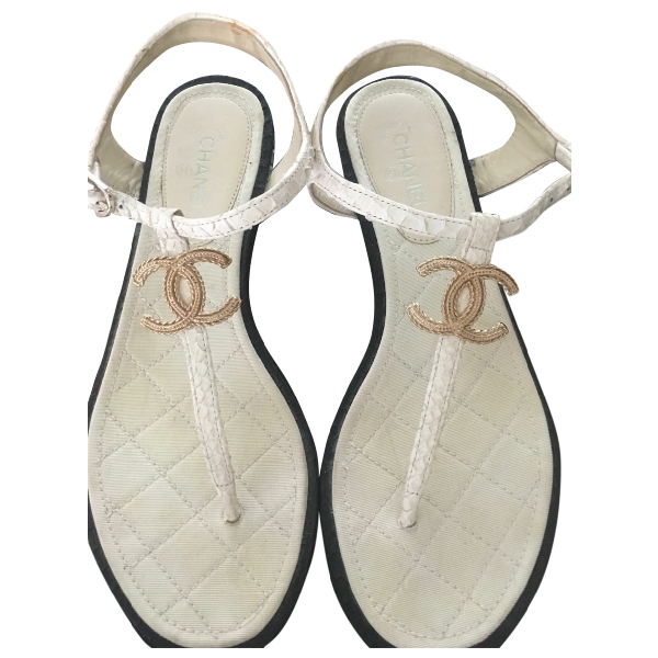 Chanel White Python Sandals