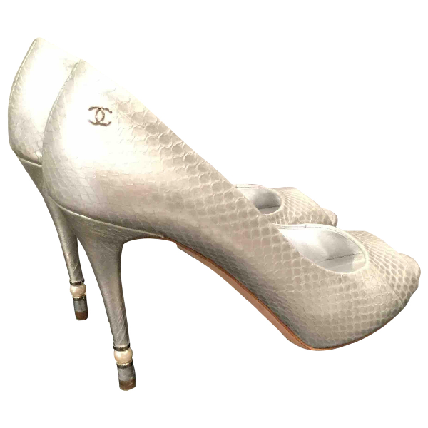 Chanel Silver Python Heels