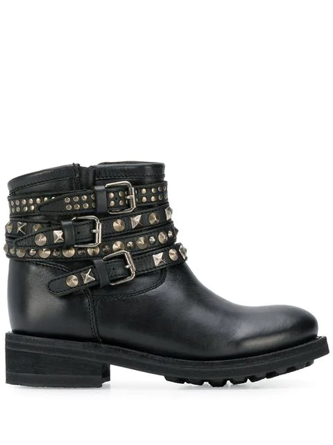 Ash Tatum Combat Boots In Black Leather