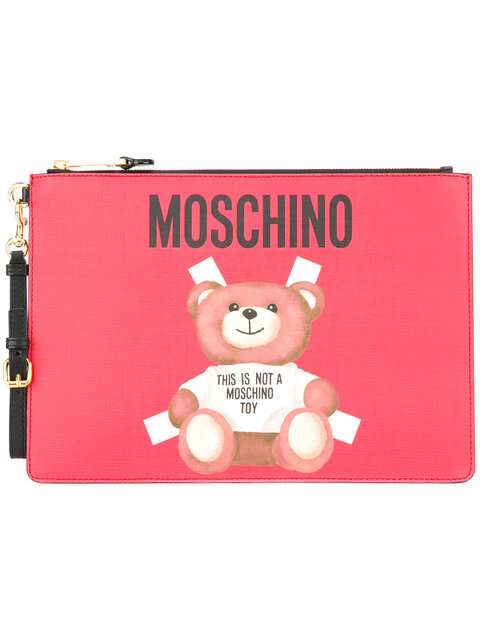 Moschino Toy Bear Paper Cut Out Clutch In 1115