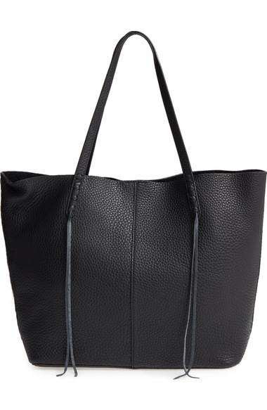 Rebecca Minkoff Unlined Whipstitch Medium Pebbled Leather Tote In Black/ Silver