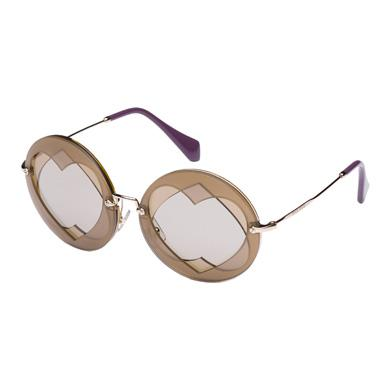 Miu Miu Noir With Heart-shaped Design In Clay Gray Lenses