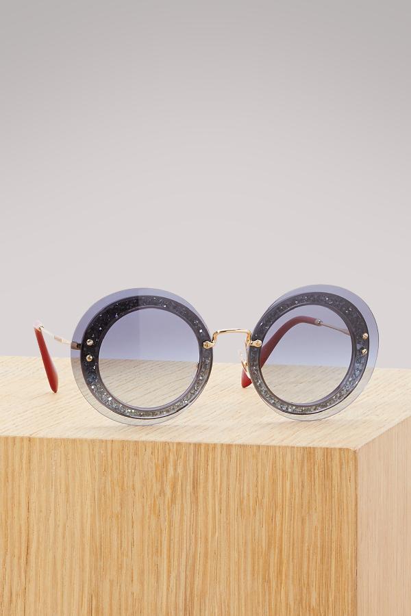 cbc339cea326 Miu Miu 64Mm Round Overlay Sunglasses In Grey Clear/Blue Gradient ...