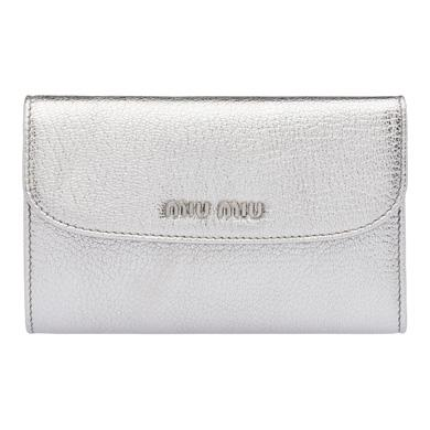 Miu Miu Madras Goat Leather Wallet In Chrome