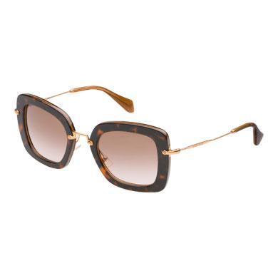 Miu Miu Noir Sunglasses In Opaque Gradient Dark Brown Lenses