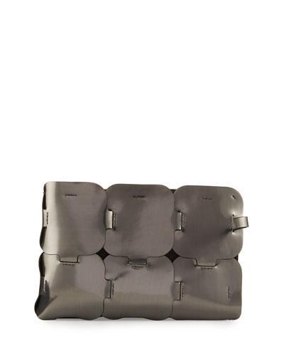 Paco Rabanne Dragon Leather Clutch Bag, Gunmetal