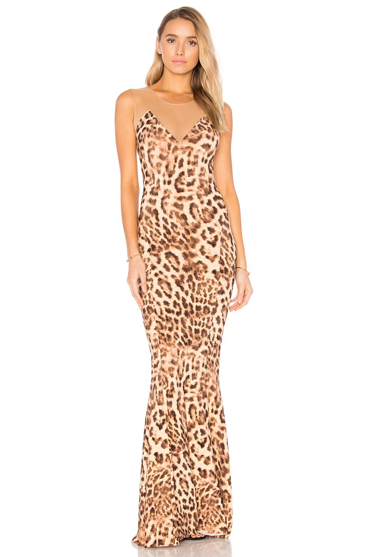 Norma Kamali Sleeveless Leopard-print Combo Fishtail Gown In Caramel Leopard