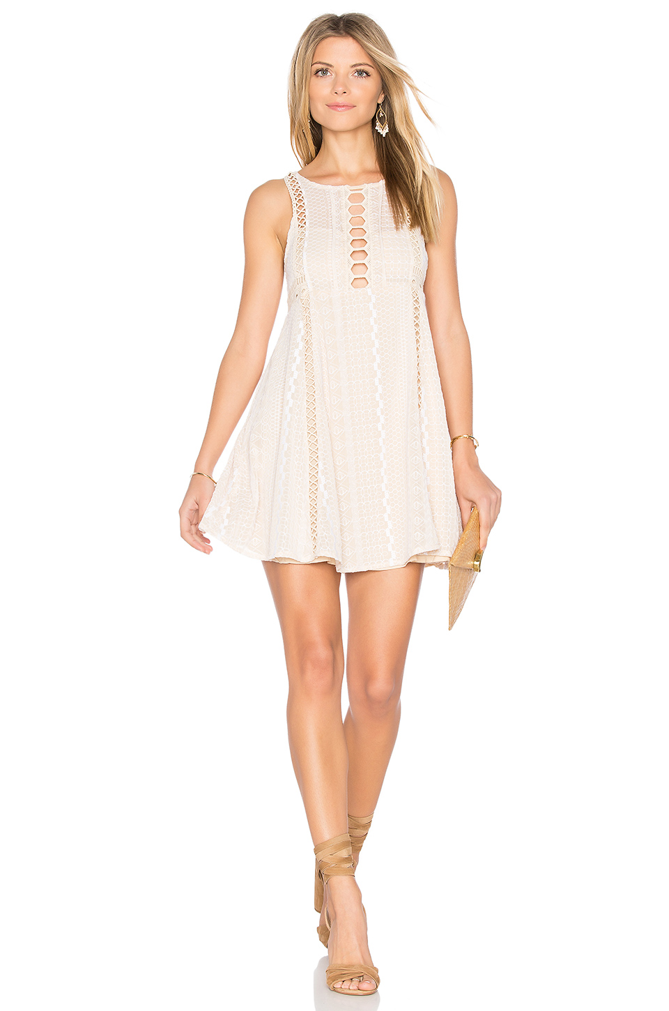 Free People Wherever You Go Crocheted Mini Dress In Ivory